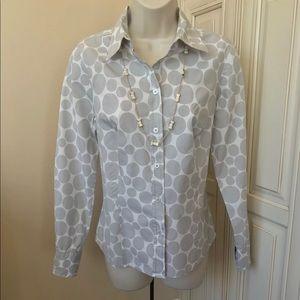 Boden Gray Polka Dot Button Down Shirt Blouse - 6